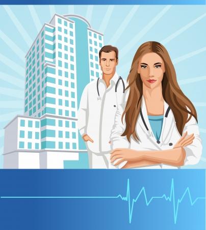 equipe medica: Template di due medici di fronte a un ospedale Vettoriali