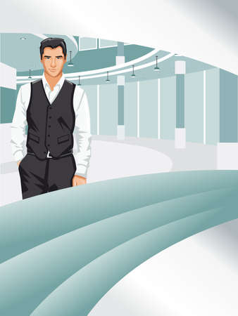 Template for advertising with business man Vector