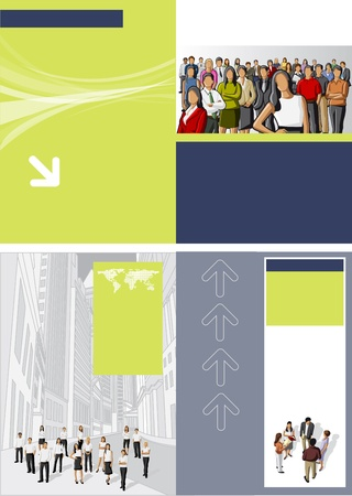 Blue and yellow green template for advertising brochure with business people Vector