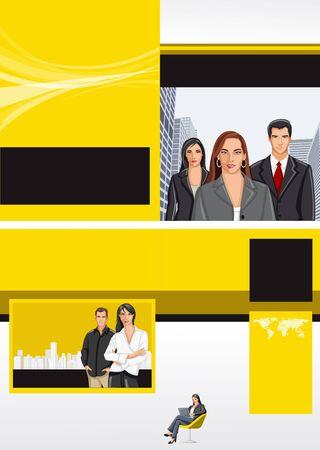 Yellow and black template for advertising brochure with business people Vector