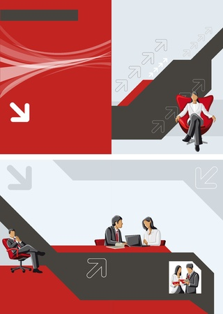 folder design: Red and black template for advertising brochure with business people Illustration