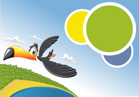 Template for advertising brochure Cartoon toucan flying over beach in Brazil  Vector