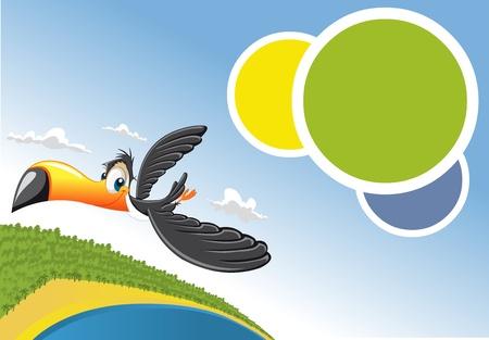 brazil beach: Template for advertising brochure Cartoon toucan flying over beach in Brazil  Illustration