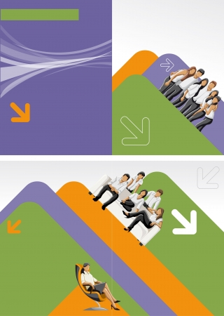 Purple, orange and green template for advertising brochure with business people Vector