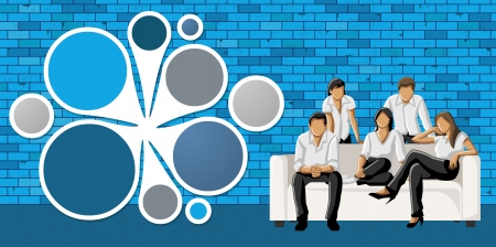 coworker banner: Blue template for advertising brochure with business people in front of blue brick wall Illustration