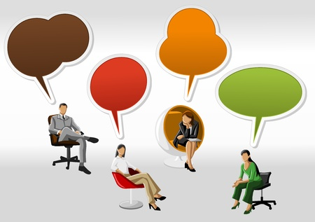 demand: Business people with speech balloon icons