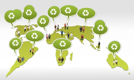 People over world map with recycling symbol on green speech balloon.  Vector