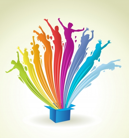 diversidad cultural: Colorido de la pintura en forma de personas que salpica hacia fuera de una caja azul abstracta luces de arco iris de colores