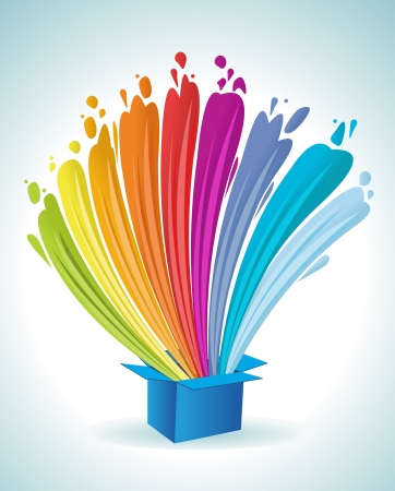 messy paint: Colorful paint splashing out of a blue box  Abstract colorful rainbow lights  Illustration