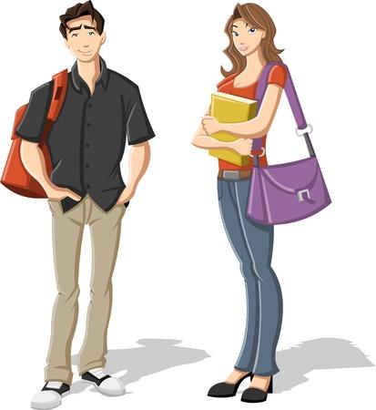 profesor alumno: Pareja de adolescentes de dibujos animados j�venes estudiantes