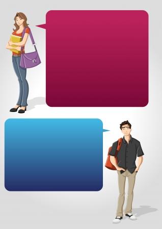 Plantilla colorida para el folleto publicitario con estudiante adolescente y el habla globos