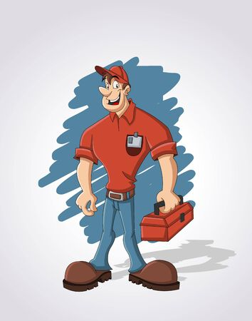 tradesman: Cartoon worker with red tool box
