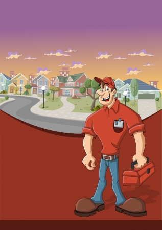 Red template for advertising brochure with worker with red tool box in front of suburb neighborhood Vector