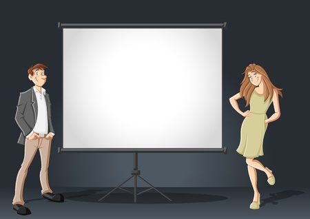 presentation screen: Cartoon business couple and white billboard with empty space  Presentation screen   Illustration