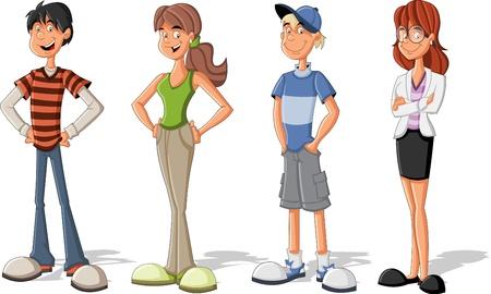 Grupo de niños de dibujos animados fresco Adolescentes Ilustración de vector