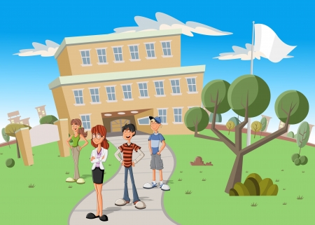 Teenager students in front of school  Vector