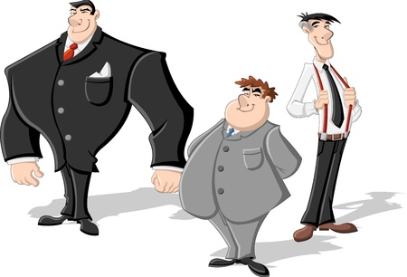 Group of three cartoon business men  Professionals