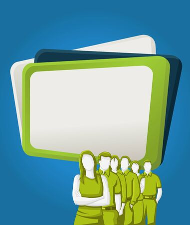 manager team: Green and blue template for advertising brochure with business people Illustration
