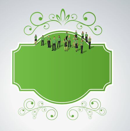 Green template for advertising brochure with business people. Border design elements for layout. Vector