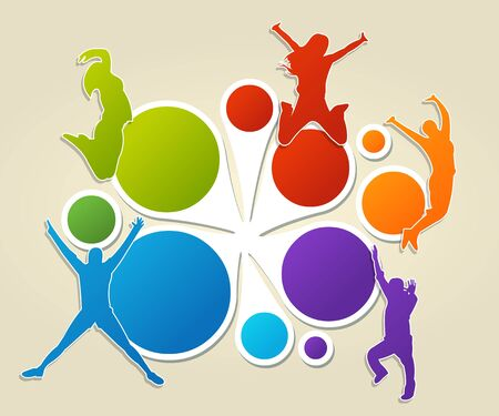 Colorful template for advertising brochure with people jumping Vector