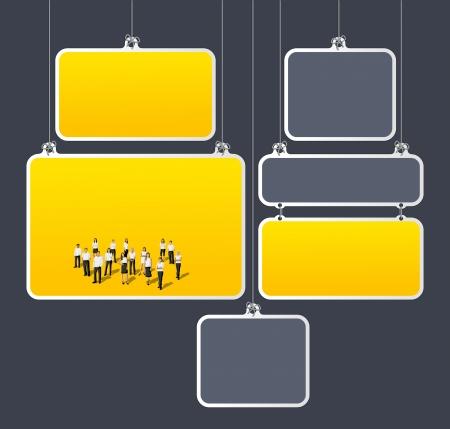 Modèle jaune et gris pour la brochure publicitaire avec des gens d'affaires