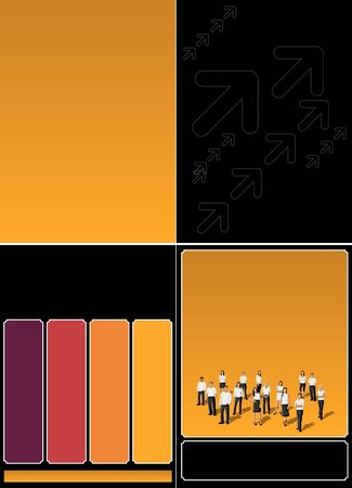 Black and orange template with business people Vector