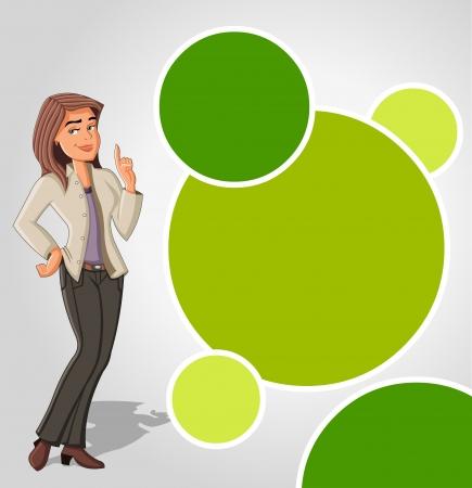Green template with cartoon woman. Presentation screen. Vetores