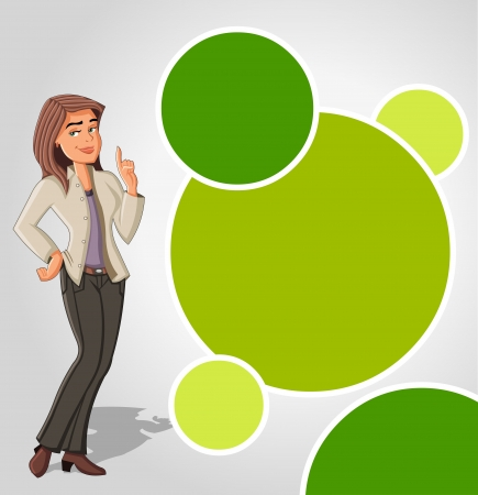 Green template with cartoon woman. Presentation screen. Vector