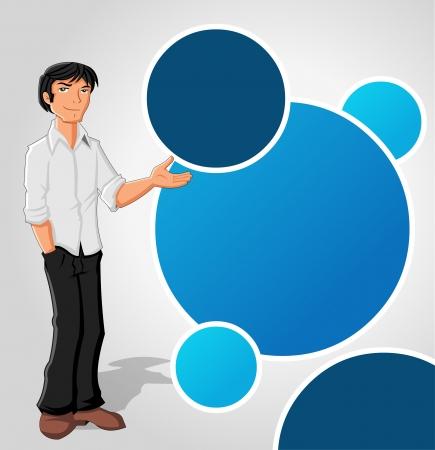 Blauw sjabloon met cartoon man. Presentatiescherm.