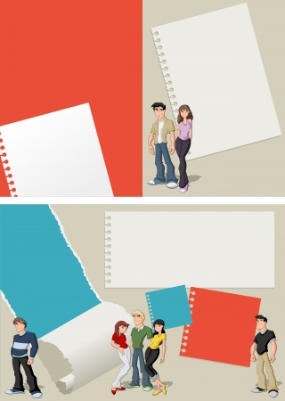 Red and blue template for advertising brochure with teenager students Vector