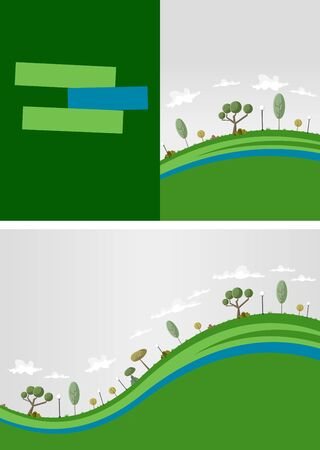Template for advertising brochure with green park Vector