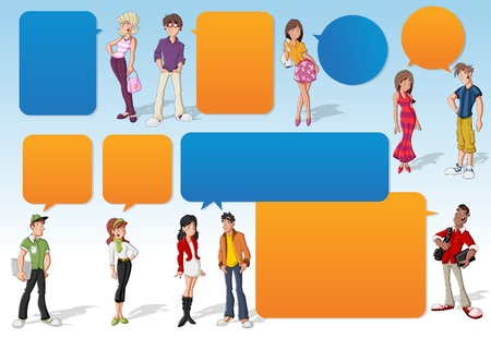 balloon woman: Colorful template for advertising brochure with cool cartoon young people and speech balloons. Teenagers. Illustration