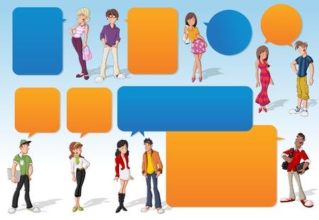 Modèle coloré pour la brochure publicitaire avec des gens de dessin animé fraîches jeunes et les ballons de la parole. Adolescents. Vecteurs