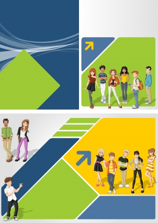 Colorful template for advertising brochure with cool cartoon young people Vector
