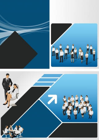 Blue and black template for advertising brochure with business people Vector