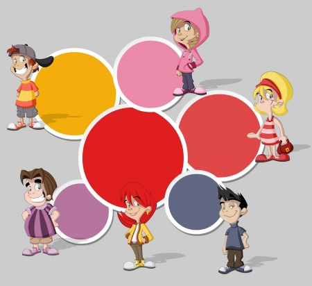 Colorful template for advertising brochure with a group of six cartoon children Vector