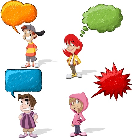 Cartoon children talking with speech balloon Vector