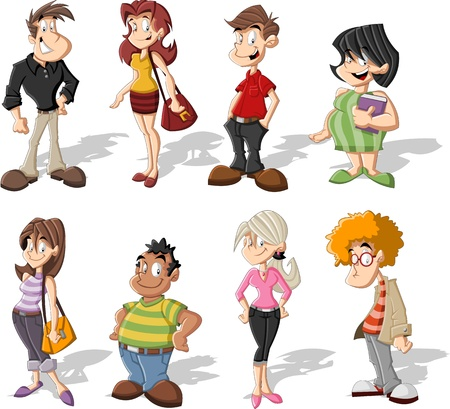cartoon teenager: Group of cute happy cartoon people