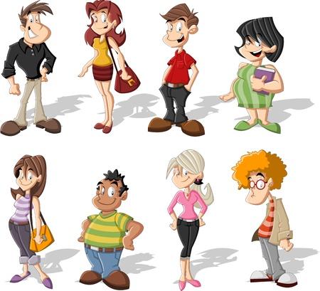 gente: Grupo de personas lindas felices de la historieta
