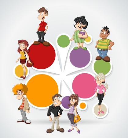 Plantilla colorida para el folleto publicitario con lindas personas felices de la historieta