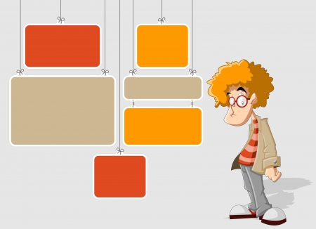 for advertising: Colorful template for advertising brochure with cartoon redhead man