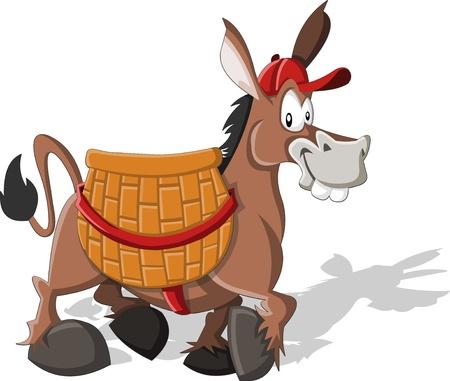 burro: Cartoon burro llevaba una gran cesta Vectores