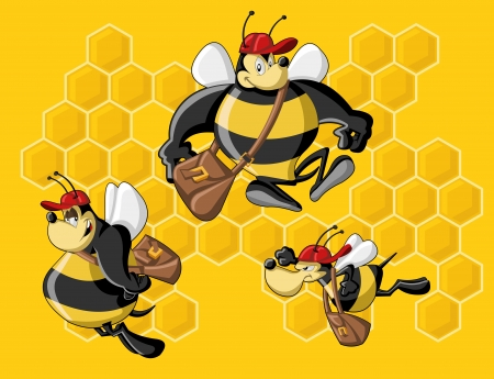 beekeeping: Cartoon bees in front of a honeycomb  Bee hive  Illustration