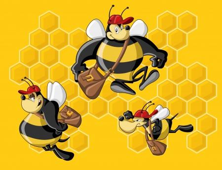 honeybee: Cartoon bees in front of a honeycomb  Bee hive  Illustration
