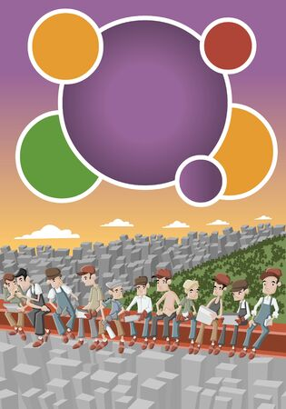 construction worker cartoon: Orange and purple template for advertising brochure with construction workers lunching on girder at the Empire State Building