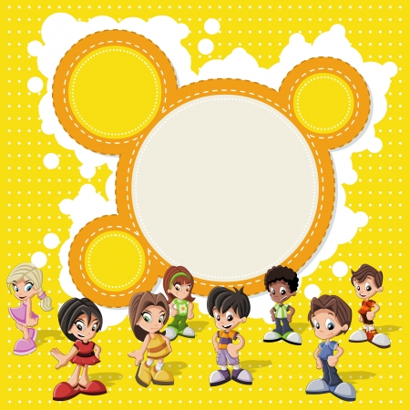 Colorful template for advertising brochure with a group of cute happy cartoon kids Vector