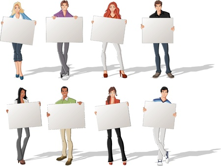 college girl: Fashion cartoon young people holding colorful white cards   boards  Illustration