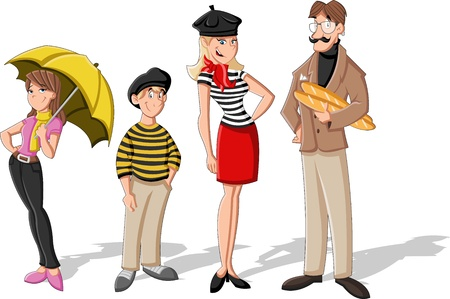 parisian: Fashion french cartoon family  Cartoon people  Illustration