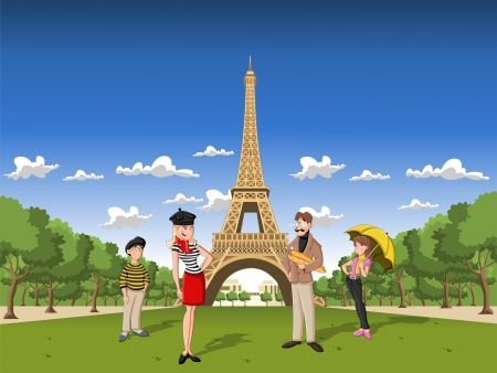 Fashion french cartoon family in Paris, with the Eiffel Tower Vector