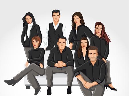 Plantilla de un grupo de personas vistiendo ropa negra en el sofá